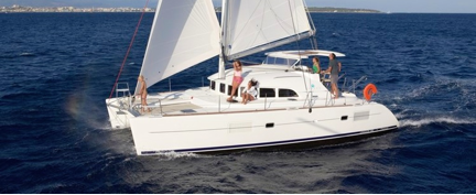 A 38 ft Lagoon catamaran sailboat with 4 bed rooms, rented from www.onboat.co